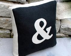 Black Burlap and Unbleach Canvas Ampersand by YellowBugBoutique, $65.00