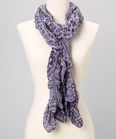 Take a look at this Purple Leopard Ruffle Scarf by J & X International on #zulily today!