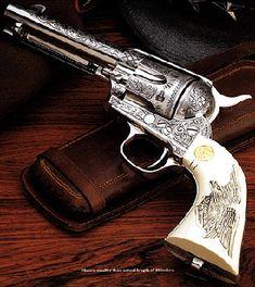 Colt 45 Revolver, kind of like Dean and Sam's! Weapons Guns, Guns And Ammo, Arma Steampunk, Colt 45, Gun Art, Gun Holster, Cowboy Holsters, The Lone Ranger, Custom Guns