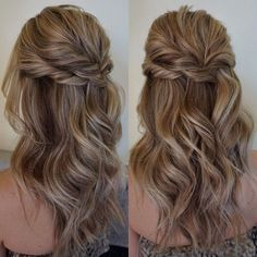 Bridesmaid hair Pretty Half up half down hairstyles - Pretty partial updo wedding hairstyle is a great options for the modern bride from flowy boho and clean contemporary Wedding Hair Down, Wedding Hair And Makeup, Hair Makeup, Prom Hair Down, Wedding Guest Hair, Formal Hair Down, Beauty Makeup, Wedding Party Hair, Makeup Hairstyle