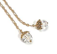 Rare Vintage Hand Cut Crystal Dangle Earrings Gold Vermeil Chain OOAK on Etsy, $28.00
