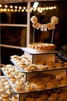 wedding pie inspiration, wedding pie cake, mini pie, rustic wedding cake, pie, cake topper