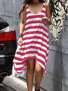 Casual Scoop Neck Sleeveless Striped Loose-Fitting Dress For Women