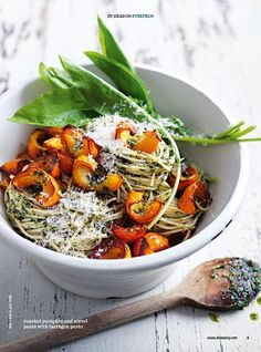 Roasted pumpkin and sorrel pasta | Donna Hay