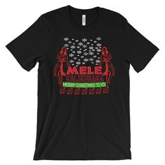 Mele Kalikimaka Unisex Christmas T-Shirt   This super-soft, baby-knit t-shirt looks great on both men and women – it fits like a well-loved favorite. Made from 100% cotton, except for heather colors, which contain polyester.  • 100% ring-spun cotton (heather colors contain polyester) • Baby-knit jersey • Shoulder-to-shoulder taping • Cover stitched and hemmed sleeves • Side-seamed