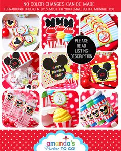 Mickey Mouse Invitation Thank You Note por AmandasPartiesToGo