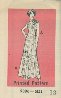 An unused and undated (ca. 1970's?) Anne Adams Pattern 9396.  A princess seamline sheath that can be made street length or floor length for an evening gown.  Has a high cowl neckline with asymmetric draping from the left shoulder seam.  Can be completed sleeveless or with short set-in cap sleeves.