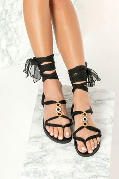 Fully Customizable Women's Sandals. Choose scarf laces from 15 colors, leather footbed from 6 colors and silver or 24k gold plated embellishments. Eleftheria sandals are handmade of fine quality leather in black. They feature our signature silk laces that beautifully frame the foot with gold & silver plated embellishments for a luxe touch. These comfy lace ups are designed with adjustable fit and feel like a glove. Their classy style matches perfectly with the most looks from boho to minimal. Black Gladiator Sandals, Leather Sandals, Gladiators, Women's Sandals, Birkenstock Mayari, Leather Accessories, Boho Chic, Classy Style, Lace Up
