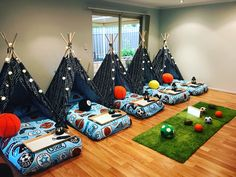 A night under one of our teepees is truly a magical experience for all children of all ages. Our gorgeous packages come filled with fairy lights, Boy Sleepover, Sleepover Birthday Parties, Kindergarten Party, Camping Parties, Parties Kids, Kids Party Hire, Teepee Party, Movie Night Party, Pajama Party