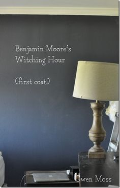 (very cute room…but no it's not mine) Please don't be shocked. But this past weekend I grabbed a can of Benjamin Moore's Witching H. Benjamin Moore Exterior, Benjamin Moore Colors, Room Colors, Wall Colors, Colours, Navy Blue Houses, Navy Paint Colors, Blue Headboard, Office Paint