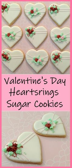 Try this tutorial! Perfect for friends, coworkers, or anyone else that you care about, these cute heart sugar cookies decorated with royal icing flowers will have everyone feeling the love!  #butfirstcookies #valentinesday #valentinesdaycookies #heartcookies #gift #treat #hearts