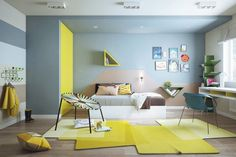 yellow and teal room inspired by Cartoon Network favorite Adventure Time