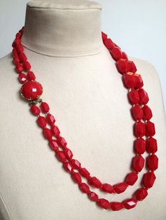 "Vintage Multi 2 Strand Red Bead Necklace with decorative clasp 24"" by robinleeaccessories, $18.00"