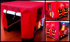 How to make Fire Station Card Table Tent. My grandaughters need this to go with their firetruck ride-ons. Fireman Party, Fireman Sam, Fireman Birthday, 2nd Birthday, Birthday Ideas, Old Sheets, Welcome Door Signs, Table Tents, Table Cards
