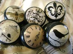Set of 6 assorted cream on black, Shabby Vintage, black wooden decoupage knobs Knobs And Knockers, Knobs And Handles, Drawer Knobs, Knobs And Pulls, Door Knobs, Cabinet Knobs, Drawer Pulls, Shabby Vintage, Style Vintage