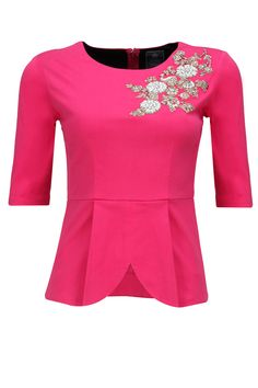 Pink dabka embroidered peplum top available only at Pernia's Pop-Up Shop.