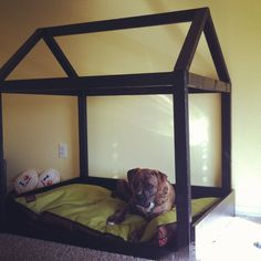 """DIY Dog Bed. I would add a """"ceiling"""" and cover the roof, then store toys n such up there"""