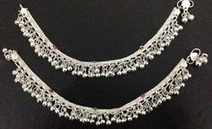 tribal lot of 2 silver bells chain anklet ankle bracelet bollywood belly dance Indian jewelry on Etsy, US$ 17.00