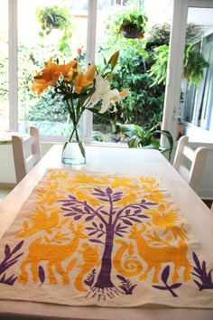 Limited Edition Lavender and yellow Textile Perfect by CasaOtomi,   www.casaotomi.com Tenango, Otomi, Casa otomi, Casaotomi, Mexican Suzani, Mexican, wedding, Textile, Fabric, Hand Embroidered, embroidery, table runner, cushion, pillow, authentic, wall hanging,