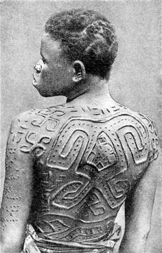 Africa   The details of the scarification of a Yombe woman. Congo   © H.A. Bernatzik. Africa, 1947 - Google Search