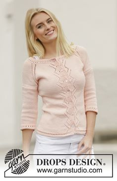 """Knitted DROPS jacket with lace pattern and raglan in """"Muskat"""". Worked top down. Size: S - XXXL. ~ DROPS Design"""