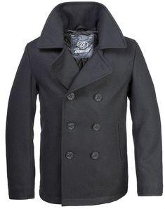 97f7fe10194 Brandit classic vintage navy pea coat mens army reefer wool marine jacket  black