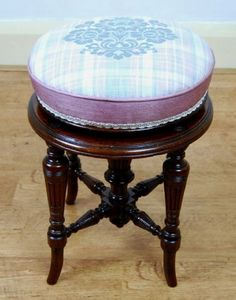 J. Fitter (Birmingham) Victorian Mahogany Piano/Dressing Stool in JAB Anstoetz fabric and Prestigious Textiles border - For sale at The Sitting Place
