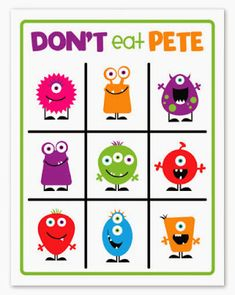 Halloween Don't Eat Pete game- Such a fun game and darling printable!  Did for FHE and my little boys preschool party!!! Big Hit!!!