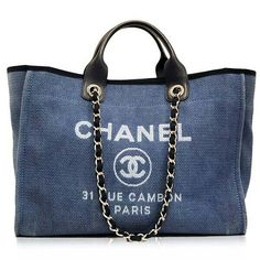 Authentic and iconic Chanel on Sale. Chanel bags, handbags, purses, and our entire Chanel collection is backed by the Portero Promise. Blue Purse, Blue Bags, Chanel Handbags, Purses And Handbags, Chanel Tote, Designer Handbags, Blue Handbags, Canvas Handbags, Burberry Handbags