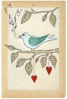 love song bird illustration painted on a. - love song bird illustration painted on a vintage book page - Journal D'art, Art Journal Pages, Art Journaling, Art Altéré, Love Birds Painting, Painting Art, Paintings, Newspaper Art, Book Page Art