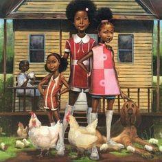 """Frank Morrison """"One Crazy Summer"""" Cover Art 🐓 Black Love Art, Black Girl Art, Art Girl, African American Artwork, African Art, Frank Morrison Art, Harlem Renaissance Artists, Caribbean Art, Black Art Pictures"""
