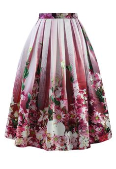 Hot Pink Floral Tulle Print Midi Skirt - Retro, Indie and Unique Fashion