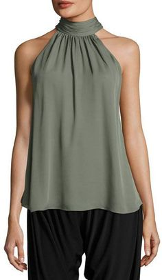 Haute Hippie Halter-neck Side-tie Morrison Blouse In Green Haute Hippie, Halter Neck, Sleeveless Blouse, Korean Fashion, Women's Fashion, Tunic Tops, Couture, Clothes For Women, Outfits
