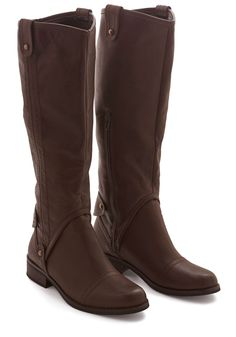 Meadowside Meander Boot. The still quiet of a rural panorama is just what you need after a busy week, and these vegan faux-leather boots from Dolce by Mojo Moxy lead you along the lush greenery. #brown #modcloth