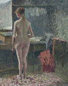 Femme nue de dos dans un intérieur.  Camille Pissarro