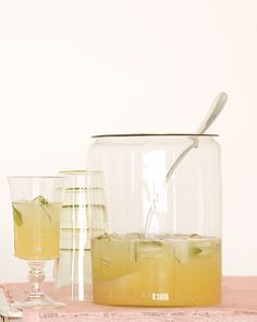 Lemon verbena, which has lemon's clean taste but not its tartness, balances the acidity of fresh lemonade. Lemon Verbena Recipes, Whiskey Lemonade, Baby Shower Drinks, Buffet, Martha Stewart Recipes, Summer Drink Recipes, Cocktail Recipes, Refreshing Summer Drinks, Summer Beverages