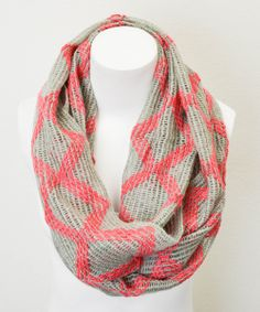 Coral & Light Gray Diamond Infinity Scarf
