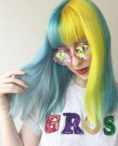Neon green and blue hair