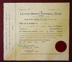 England, Leyton Orient Football Club, Limited, 5 Shares of 5/- each, 1954