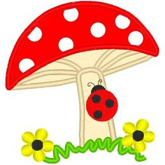 Mushroom and Ladybug Applique - 3 Sizes! - Products - SWAK Embroidery