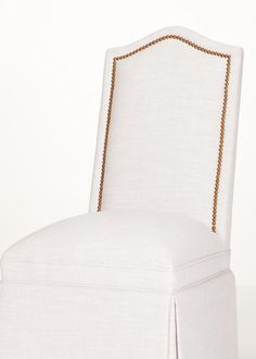 Inset nailhead trim on a camel back parsons chair with skirt. The nails really pop on this white fabric. Dining Chairs, Dining Room, Buy Chair, Parsons Chairs, Wing Chair, Nailhead Trim, White Fabrics, Decorating Your Home, Camel