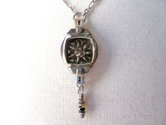 Golden Petals Victorian Watch Case Button Face Necklace on Etsy, $45.00