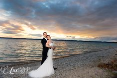 lean back for a romantic, classic hollywood pose at the beach during sunset, more wedding photography at www.luxlightphotography.net