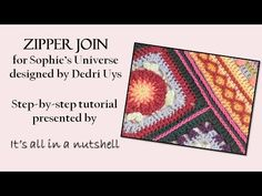 This is one possible joining method for connecting the optional squares for to Sophie's Universe to extend it from a square to a rectangle. This video is mad. Joining Crochet Squares, Crochet Blocks, Crochet Borders, Crochet Stitches, Knit Crochet, Crochet Mandala, Crochet Doilies, Knitting Patterns, Crochet Patterns