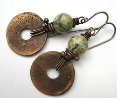 Pueblo. artisan earrings boho rustic primitive assemblage copper disk Mexican agate dangle earrings