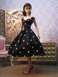 Silkstone BArbie Rockabilly Dress in Black and White Polka by Bellissimacouture