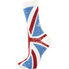 Cream Union Jack Ankle Socks ($6) ❤ liked on Polyvore