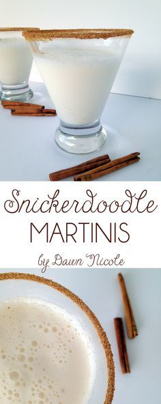 Snickerdoodle Martinis [Coat rims in honey and cinnamon sugar; Add 3 oz half and half, 1 oz Rumchata, 1 oz vanilla vodka, 1/2 t powdered sugar, dash cinnamon, ice to a shaker; Shake; Pour over ice] Christmas Cocktails, Holiday Drinks, Party Drinks, Fun Drinks, Yummy Drinks, Beverages, Mixed Drinks, Cocktail Glass, Cocktail Drinks