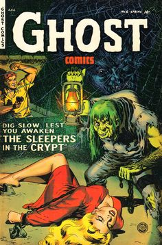 Ghost Comics No 6 Pulp Fiction Comic Book Cover Image Shows A Hunchback Monster Chaining The Helpless Blonde Woman To The Floor While A Man With A Gun Comes To The Rescue. Dig Slow Lest You Awaken The