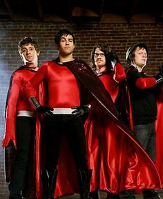 This isn't the usual Marvel/DC stuff that I post on here, but it's Fall Out Boy as superheroes. Who wouldn't resist? :D Save Rock And Roll, Emo Bands, Music Bands, Falling Down, Pete Wentz, Patrick Stump, All Time Low, Pop Punk, Paramore